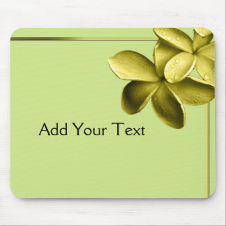 Sea Green and Yellow Plumeria Mouse Pad