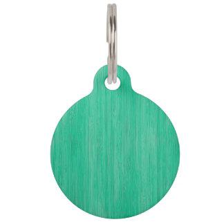 Sea Green Bamboo Wood Grain Look Pet Tag