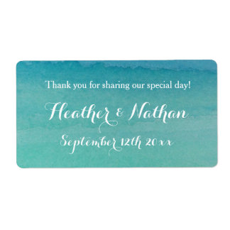 Sea green beach wedding wine or water bottle label shipping label