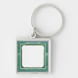 Sea Green Border Image / Text Holder Silver-Colored Square Key Ring