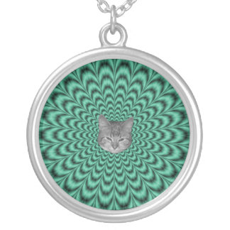 Sea Green Explosion + Cat Silver Plated Necklace