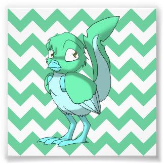 Sea Green/Ice Blue Reptilian Bird w/ Chevron Back1 Photo Art