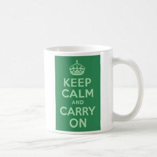 Sea Green Keep Calm and Carry On Mug