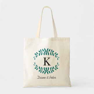 Sea Green Personalized Monogram Wedding Favour Canvas Bags