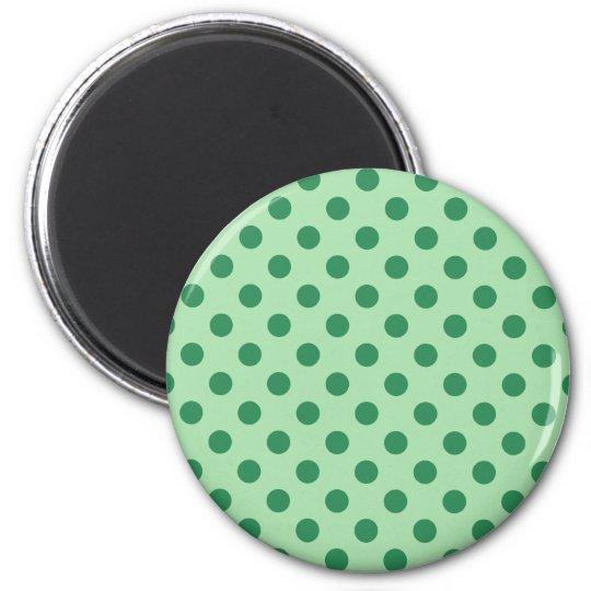 Sea Green Polka Dots 6 Cm Round Magnet