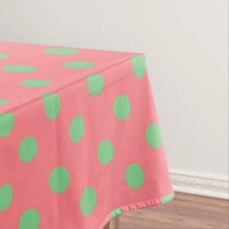 Sea Green Polka Dots on Coral Pink Tablecloth