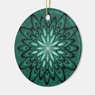 Sea Green Star Flower on Bokeh Ceramic Ornament