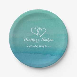 Sea green watercolor painting wedding party plates 7 inch paper plate