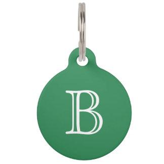Sea Green White Monogram Initial Name Simple Pet ID Tag