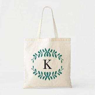 Sea Green Wreath Personalised Monogram Budget Tote Bag
