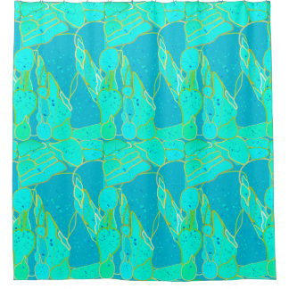 """""""Sea Grotto"""" abstract - turquoise, blue, gold Shower Curtain"""