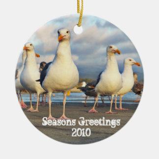 Sea Gull Christmas Round Ceramic Decoration