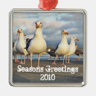 Sea Gull Christmas Silver-Colored Square Decoration