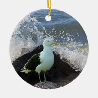 Sea Gull on Rocks Christmas Ornament