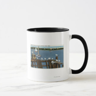 Sea Gulls and Sailboats Along the Waterfront Mug