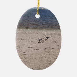 Sea Gulls Double-Sided Oval Ceramic Christmas Ornament