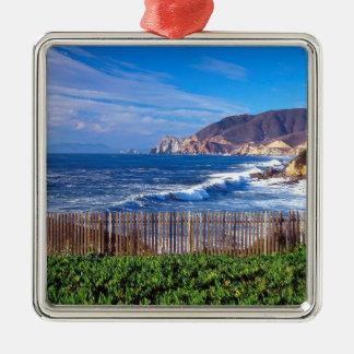 Sea Half Moon Bay California Silver-Colored Square Decoration