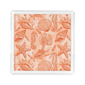 Sea hand drawn pattern acrylic tray