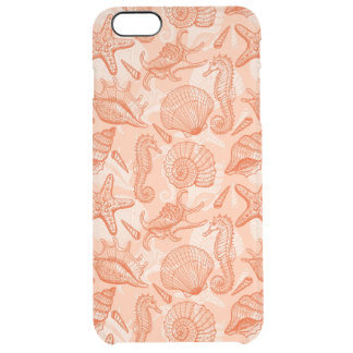 Sea hand drawn pattern clear iPhone 6 plus case