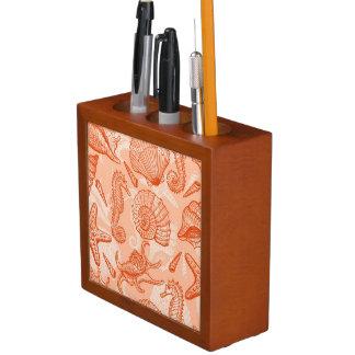 Sea hand drawn pattern desk organiser