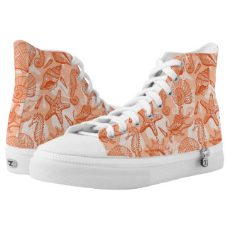Sea hand drawn pattern high tops