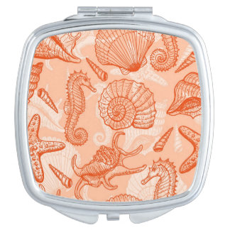 Sea hand drawn pattern mirrors for makeup
