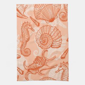 Sea hand drawn pattern tea towel