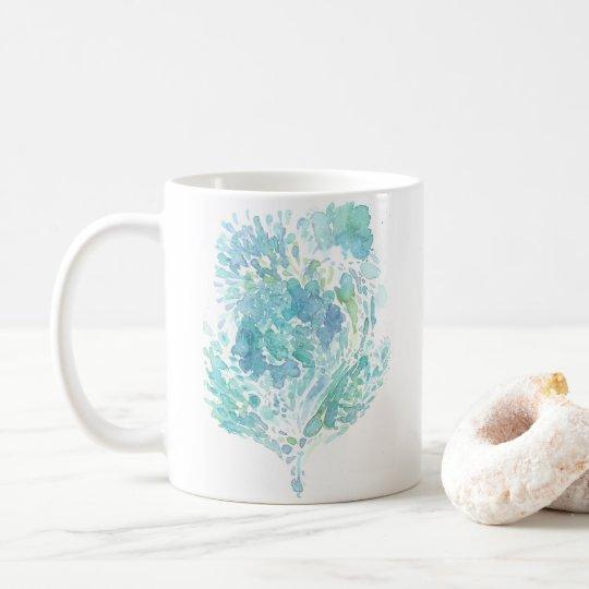 Sea Heart Abstract Watercolor Coffee Mug