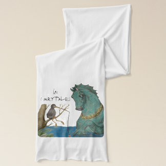Sea Horse And Fishing Bird Whimsical Scarf