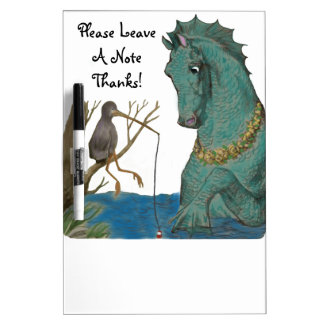 Sea Horse And Fishing Bird Whimsy Dry Erase Board