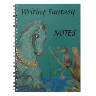 Sea Horse And Fishing Bird Whimsy Spiral Notebook