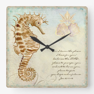 Sea Horse Coastal Beach - Christian Scripture Square Wall Clock