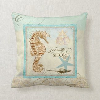 Sea Horse  Coastal Beach - Home Decor Pillow