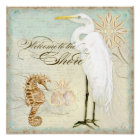 Sea Horse, Great Egret Coastal Beach - Fine Art Poster