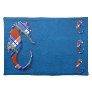 Sea Horse in Red and Blue Plaid on Leather texture Placemat