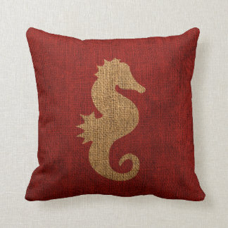 Sea Horse Nautical Rustic Red Cushion