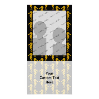 Sea Horse Pattern. Black and Brown. Photo Cards
