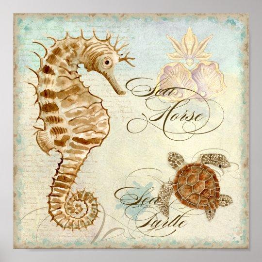 Sea Horse, Sea Turtle Coastal Beach - Fine Art Poster
