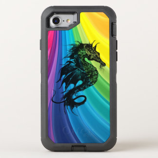 Sea Horse Silhouette on Swirling Rainbow OtterBox Defender iPhone 8/7 Case