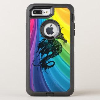 Sea Horse Silhouette on Swirling Rainbow OtterBox Defender iPhone 8 Plus/7 Plus Case