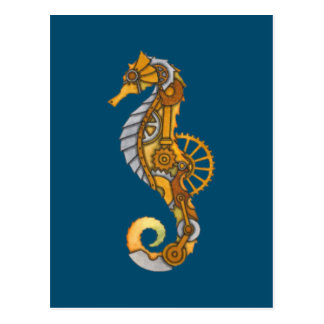 SEA HORSE STEAMPUNK ART POSTCARD