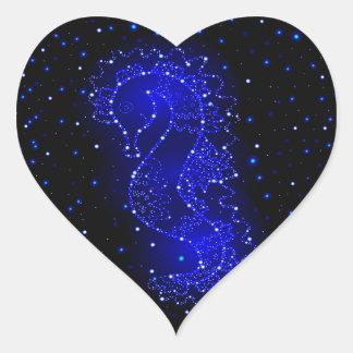 sea horse swims in lights heart sticker