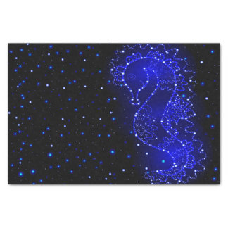sea horse swims in lights tissue paper