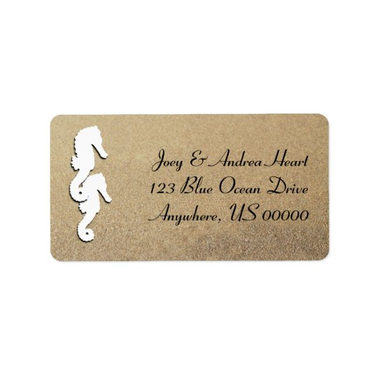 Sea Horse Tropical Beach Sand Return Address Label
