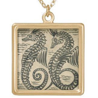 Sea-Horse (w/c on paper) Square Pendant Necklace