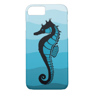 Sea horse, Waves of  Aqua, Ocean blue print iPhone 8/7 Case