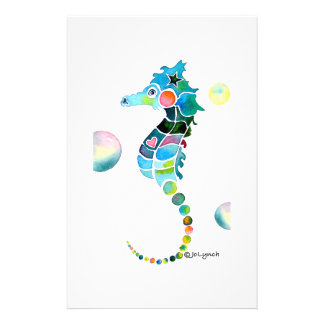 Sea Horse with Bubbles Stationery