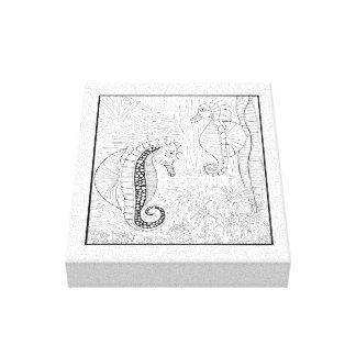 Sea Horses Line Art Design Canvas Print