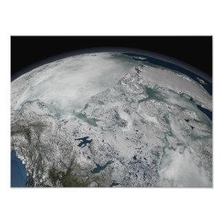 Sea ice above North America Photograph