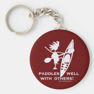 Sea Kayak Paddles Well White Basic Round Button Key Ring